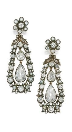 Belle Epoque Diamond Pendant-Earrings,c1910
