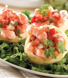 Fonditos de alcachofa con camarones