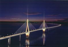 Donghai bridge, China  It was completed on December 10, 2005. It has a total length of 32.5 kilometers (20.2 mi) and connects mainland Shanghai and the offshore Yangshan deep-water port in China.