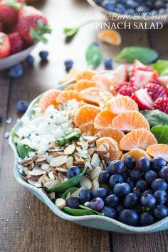 WANT --> Almond, Berries Chicken Spinach Salad #healthy #fresh #antioxidant
