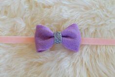 Lilac Purple and Silver Glitter Felt Bow on Peach Pink Velvet Headband by sparkleandspiceshop