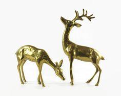 Brass Deer Figurines Vintage Brass Deer Pair by GizmoandHooHa