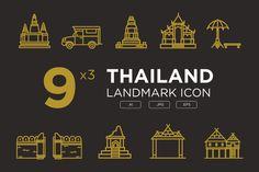Thailand landmark icon set by mathoyy on @creativemarket