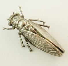 This lovely brooch dates from around a hundred years ago. The cicada is a symbol of Provence which is where this pin was aquired.