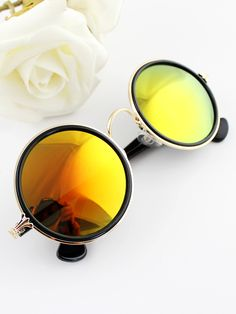 Shop Silver Rim Yellow Round Sunglasses online. Sheinside offers Silver Rim Yellow Round Sunglasses & more to fit your fashionable needs. Free Shipping Worldwide!