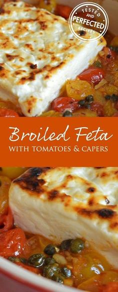 Broiled Feta with Garlicky Cherry Tomatoes & Capers. Can use regular tomatoes and just put all in glass dish and bake in oven. Then cover with feta and broil. Would make good pasta sauce. Yummy Appetizers, Appetizers For Party, Appetizer Recipes, Cheese Appetizers, Freezable Appetizers, Avacado Appetizers, Prociutto Appetizers, Sandwich Appetizers, Mexican Appetizers