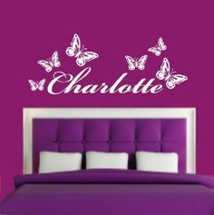 (LARGE) PERSONALISED NAME & BUTTERFLIES BEDROOM VINYL WALL ART DECAL STICKER 14 COLOURS AVAILABLE: Amazon.co.uk: Kitchen & Home Butterfly Bedroom, Butterfly Kids, Butterfly Wall Art, Removable Wall Stickers, Wall Stickers Murals, Vinyl Wall Art, Purple Bedrooms, Girls Bedroom, Bedroom Ideas