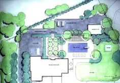MASTER PLAN: A landscape plan is a type of site plan that focuses on the exterior plantings as well as pools, patios and other architectural features. A landscaping plan identifies the types of trees, bushes, flowers, grasses, paving materials and other features that comprise the design.