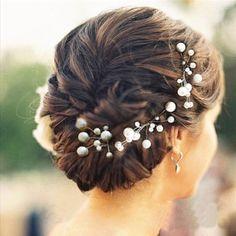 6 Stk. Perlen Strass Hochzeit Brautschmuck Braut Haarschmuck Strass Haarklammer…