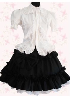 Black And White Short Sleeves Lolita Suit