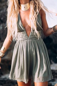Plunging Neck Backless Ruffle Dress