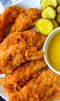 The best oven-fried chicken ever {with creamy .- The Best Oven-Fried Chicken Ever With Creamy Honey Mustard The Best Oven-Fried Chicken Ever With Creamy Honey Mustard Recipe # - Fried Chicken Recipes, Meat Recipes, Dinner Recipes, Cooking Recipes, Oven Fried Chicken Tenders, Chicken Fried Chicken, Oven Chicken Strips, Recipes With Chicken Tenders, Baked Chicken Tenderloins