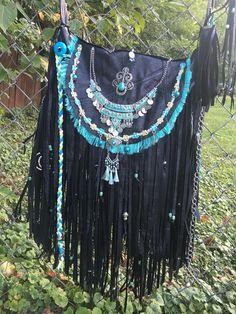Handmade Black Leather Fringe Cross Body Bag Hippie Boho Hobo Gypsy Purse B Joy | eBay