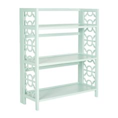 For entryway. Too wide?  Joss and Main.  Crafted from elm wood and showcasing openwork sides, this cool celadon-hued bookshelf brings serene style to your decor.  Product: