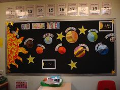The Solar System display board in our classroom. The boys made the planets and Sun (the ones who aren& too good with pencil crayons did the cutty sticky Sun :)) We know Pluto isn& a full planet, but it fits with the mnemonics. Space Preschool, Space Activities, School Displays, Classroom Displays, Space Bulletin Boards, Science Bulletin Board, Space Theme Classroom, Physics Classroom, Science Display