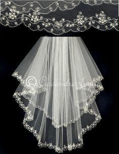 Ivory 2T Embroidered Wedding Veil with Pearls and Beads
