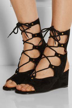Chloé|Lace-up suede wedge sandals|NET-A-PORTER.COM