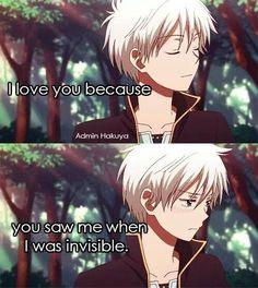"""•Ti amo perché tu mi hai notato quando ero """"invisibile""""• Cit traduzione: Quotes anime (Tradotte)"""