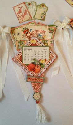 Graphic 45 Time to Flourish Banner Mini Album Calendar by Anne Rostad