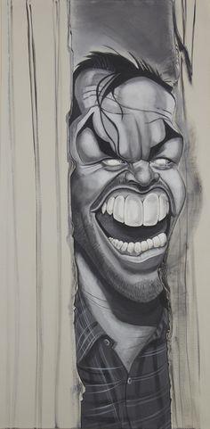Jack Nicholson The Shining Caricature Acrylic painting