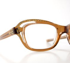 fd71b9a1030 Rhinestone Cat Eye Sun Eyeglasses CUT OUT Jeweled Optical Frames France NOS