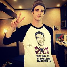 The brilliant @grantgust getting behind #PoachEggsNotElephants Buy one to win THIS one! Please! #TheFlash