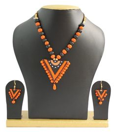 Handmade Terracotta Jewellery, Traditional Necklace Earring Set, Orange & Black