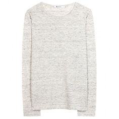 T by Alexander Wang Classic Long-Sleeved Linen Top (335 BAM) ❤ liked on Polyvore featuring tops, sweaters, shirts, long sleeves, grey, longsleeve shirt, t by alexander wang, grey top, gray long sleeve shirt i gray top