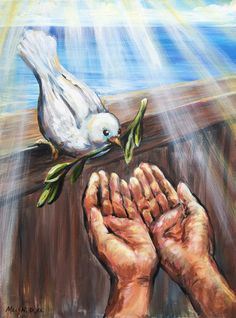 Christian Paintings, Christian Artwork, Dove And Olive, Dove With Olive Branch, Bibel Journal, Pictures Of Jesus Christ, Bible Images, Bible Illustrations, Jesus Painting