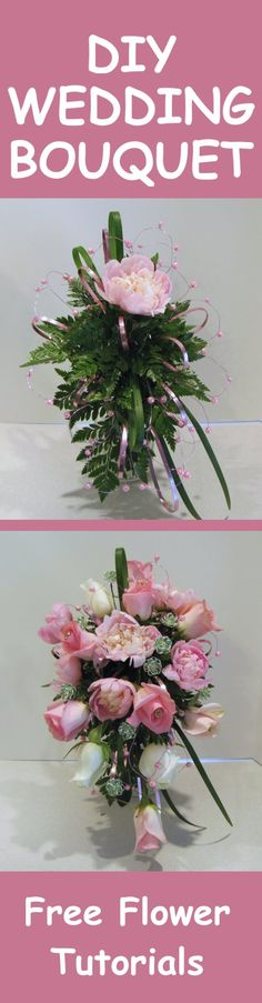 Peony Wedding Bouquet Tutorial - Easy DIY Wedding Flowers   Learn how to make bridal bouquets, corsages, boutonnieres, reception table centerpieces and church decorations.  Buy wholesale fresh flowers and discount florist supplies.