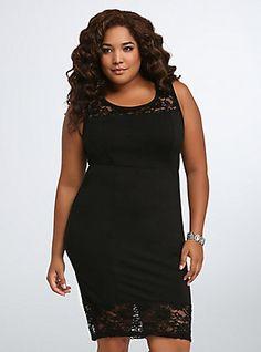 Lace Inset Bodycon Dress, DEEP BLACK