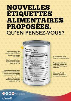 Dites-nous ce que vous pensez des changements proposés aux étiquettes alimentaires:  http://www.hc-sc.gc.ca/fn-an/label-etiquet/consultation/index-fra.php?utm_source=pinterest_hcdns&utm_medium=social&utm_content=July14_foodlabel_FR&utm_campaign=social_media_14