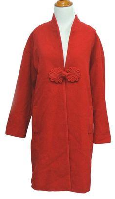 Soft Surroundings NEW Red Mandarin Frog Knot Wool Bl Coat jacket M Medium #SoftSurroundings #BasicCoat
