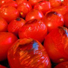 Roasting heirloom tomatoes for sauce.