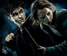 Harry Potter and Hermione Granger of the complete poster done. Harry and Hermione Harry Potter Hermione Granger, Albus Dumbledore, Character Description, Joker, Fan Art, Deviantart, Artist, Fictional Characters, Ship