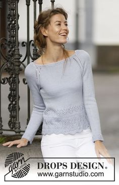 "Knitted DROPS jumper with raglan and lace pattern in ""BabyAlpaca Silk"". Size: S - XXXL. ~ DROPS Design"