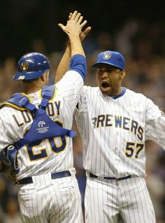 Jonathan Lucroy and Francisco Rodríguez celebrate the 3-2 victory over the Pittsburgh Pirates