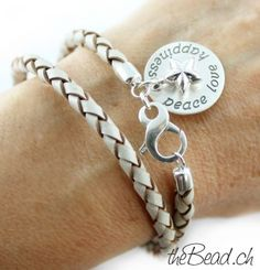 braided leather bracelet  love peace happiness