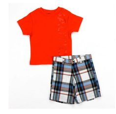 Cute Baby Boy Outfits, Little Boy Outfits, Cool Outfits, Short Set, Plaid Shorts, Little Man, Kid Stuff, Cute Babies, Rompers
