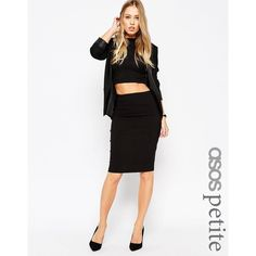 ASOS PETITE High Waisted Pencil Skirt ($24) ❤ liked on Polyvore featuring skirts, black, petite, knee length pencil skirt, bodycon pencil skirt, stretch pencil skirt, high-waisted skirts and high waisted pencil skirt