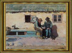 Christian Krohg, To fiskere på bænk foran staldlængen i Brøndums gård, 1887 - Skagensmalerne