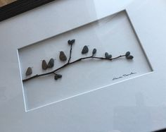12 by 16 framed pebble art birds on branch by PebbleArt on Etsy Pebble Art Family, Ocean Crafts, Rock And Pebbles, Bird On Branch, Sea Glass Art, Beach Art, Stone Art, Stone Painting, Beautiful Birds