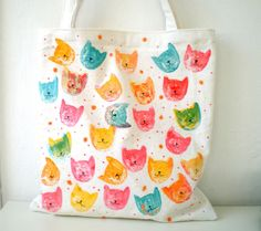 Tote Bag , Handpainted Pop Art Cat Tote Bag by ShebboDesign on Etsy Painted Bags, Hand Painted, Pop Art, Cat Bag, Fabric Markers, Arte Pop, Cloth Bags, Fabric Painting, Canvas Tote Bags