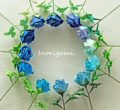 Blue hues 12 Origami Fine Roses / Welcome Gift / by Inorigami