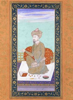 Babur, Mughal Emperor (by Unknown Artist) - A 17th-century painting of the emperor and founder of the Mughal Empire , Babur (l. 1483-1530), given name Zahr ud-Dn Muhammad . (Victoria and Albert Museum, London)