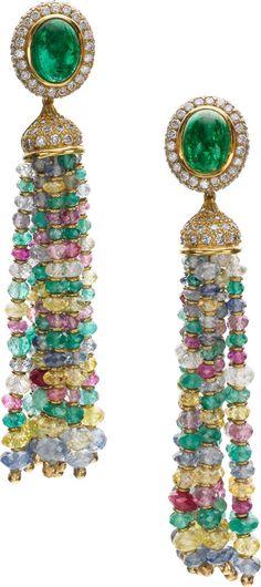 #Luxury #Earrings. Multicolor #Diamonds #emeralds, #topaz #jewels . LOVE these!