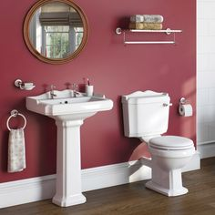 The Bath Co. Winchester Complete Cloakroom Suite With White Seat And Full Pedestal Basin With Tap And Waste Bathroom Shop, Wall Mounted Bathroom Sinks, Small Bathroom, Bathroom Radiators, Bathroom Furniture, Traditional Toilets, Traditional Decor, Wooden Toilet Seats, Victorian Style Bathroom
