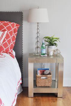 coral + grey bedroom.