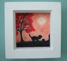 #Kitten Picture #Framed: #Cat Art #Gift, Black Cat, #Children Gift, Cat Red Tree Art £15.00