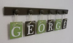 painted peg board display ideas | Letters. Set Includes 6 Peg Board and Babies Name GEORGE Painted ...